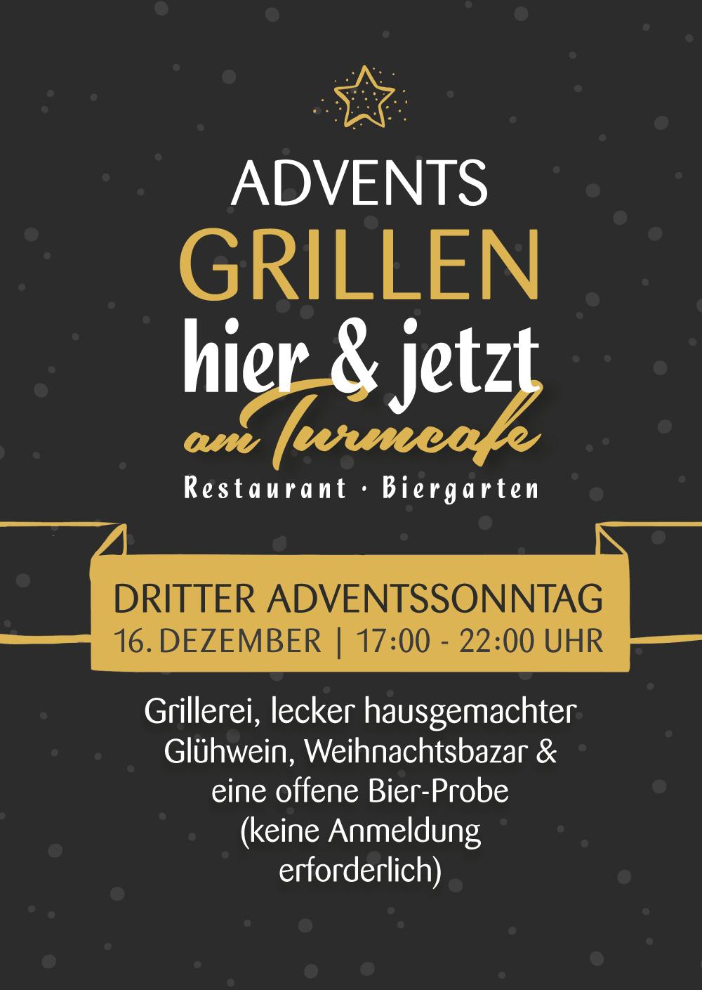 Adventsgrillen im Biergarten Restaurant hier und jetzt am Turmcafe